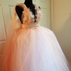 LARISSA Blush Peach Ivory Nymph Wedding Ballgown